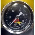 Clay Smith oljefylld bränsletycksmätare 0-15 PSI - Black