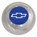 """Grant, Centrumkåpa till Classic Ratt, Chevrolet """"Bowtie""""-Logo, Blå, Borstad Finish."""